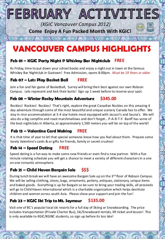 (KGIC Vancouver Campus 2012)                 Come Enjoy A Fun Packed Month With KGIC!                  MON     1     TUES ...