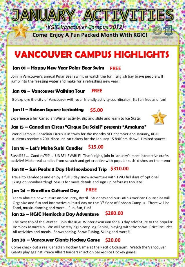 (KGIC Vancouver Campus 2012)              Come Enjoy A Fun Packed Month With KGIC!                                  TUES 1...