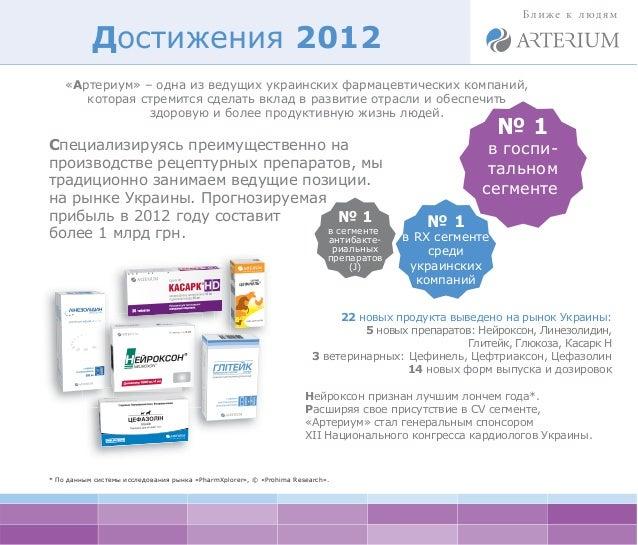 Достижения 2012    «Артериум» – одна из ведущих украинских фармацевтических компаний,       которая стремится сделать вкла...