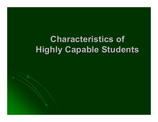 Characteristics of Highly Capable Students
