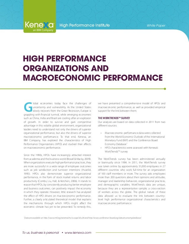 High-Performance organizations and macroeconomic performance