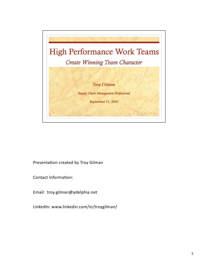 High Performance Work Teams