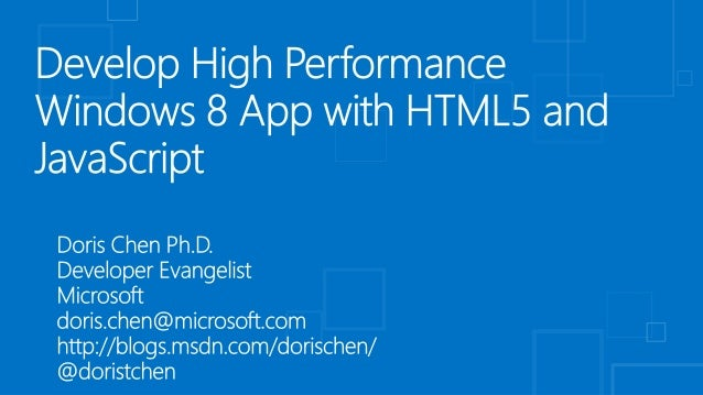 Develop High Performance Windows 8 Application With Html5