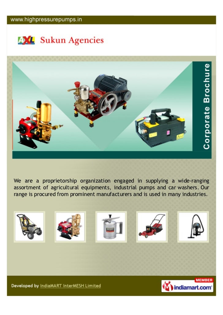 We are a proprietorship organization engaged in supplying a wide-rangingassortment of agricultural equipments, industrial ...