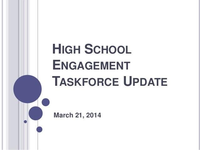 HIGH SCHOOLENGAGEMENTTASKFORCE UPDATEMarch 21, 2014