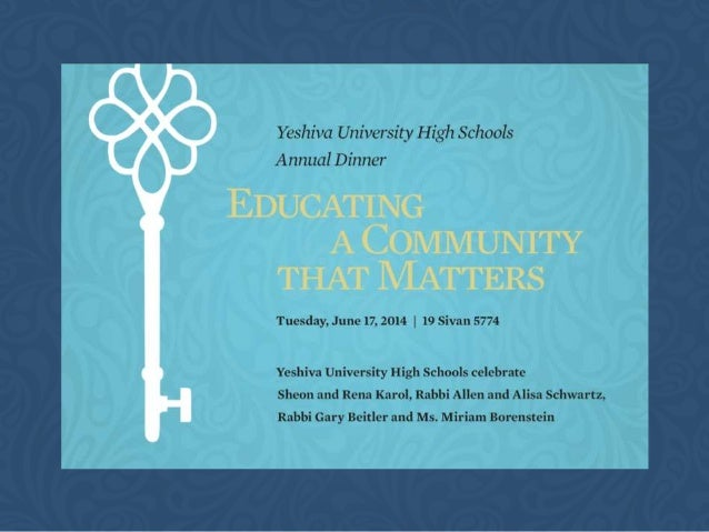 Silver YESHIVA UNIVERSITY HIGH SCHOOLS ANNUAL DINNER