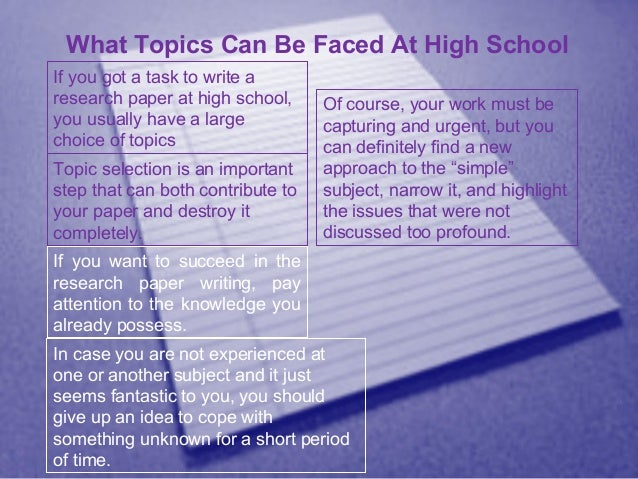 research paper topic ideas for high school Research paper topics ideas for high school - let the professionals do your essays for you find out common recommendations how to receive a plagiarism free themed term paper from a experienced provider use this service to receive your profound essay delivered on time.