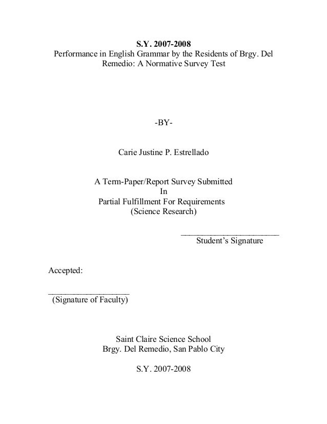 High school english thesis