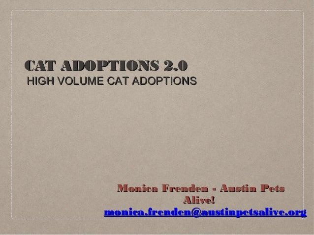 CAT ADOPTIONS 2.0CAT ADOPTIONS 2.0 HIGH VOLUME CAT ADOPTIONSHIGH VOLUME CAT ADOPTIONS Monica Frenden - Austin PetsMonica F...