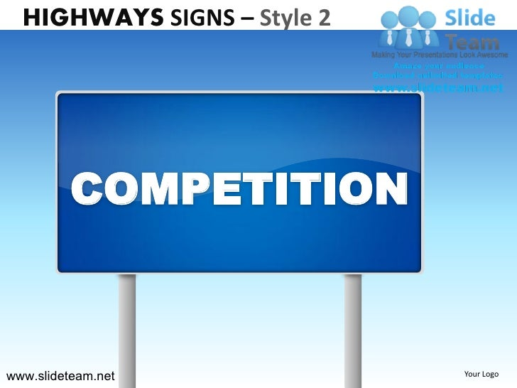 Highway freeway exit signs billboards signs style design 2 powerpoint presentation templates.