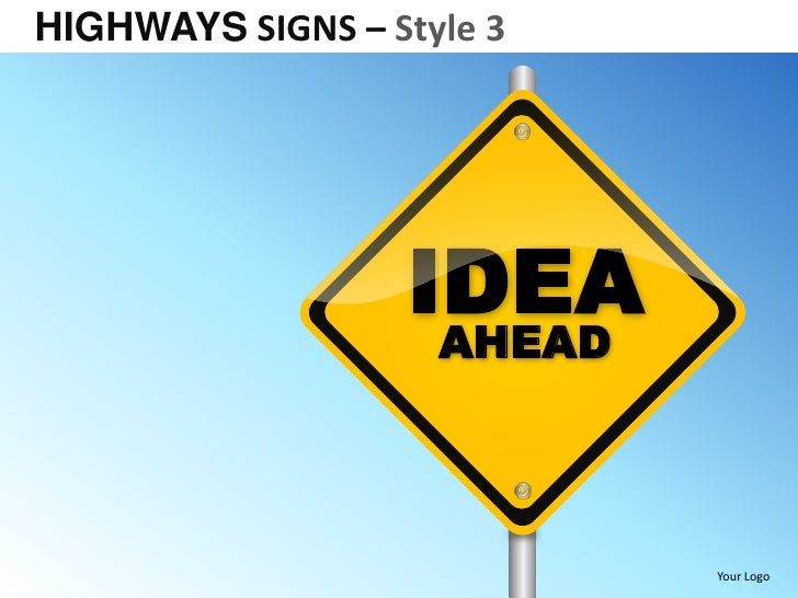 Highway signs style 3 powerpoint presentation templates