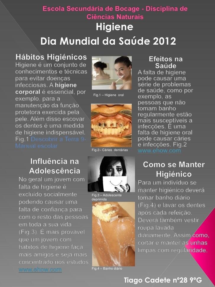 HigieneDia Mundial da Saúde 2012          Fig.1 – Higiene oral         Fig.2– Cáries dentárias         Fig.3 – Adolescente...