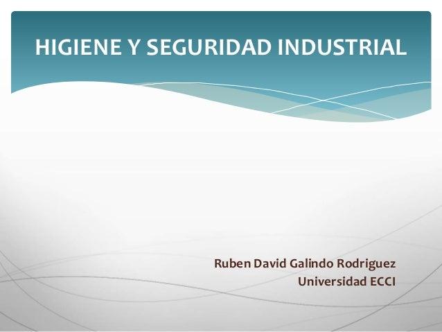 HIGIENE Y SEGURIDAD INDUSTRIAL  Ruben David Galindo Rodriguez  Universidad ECCI