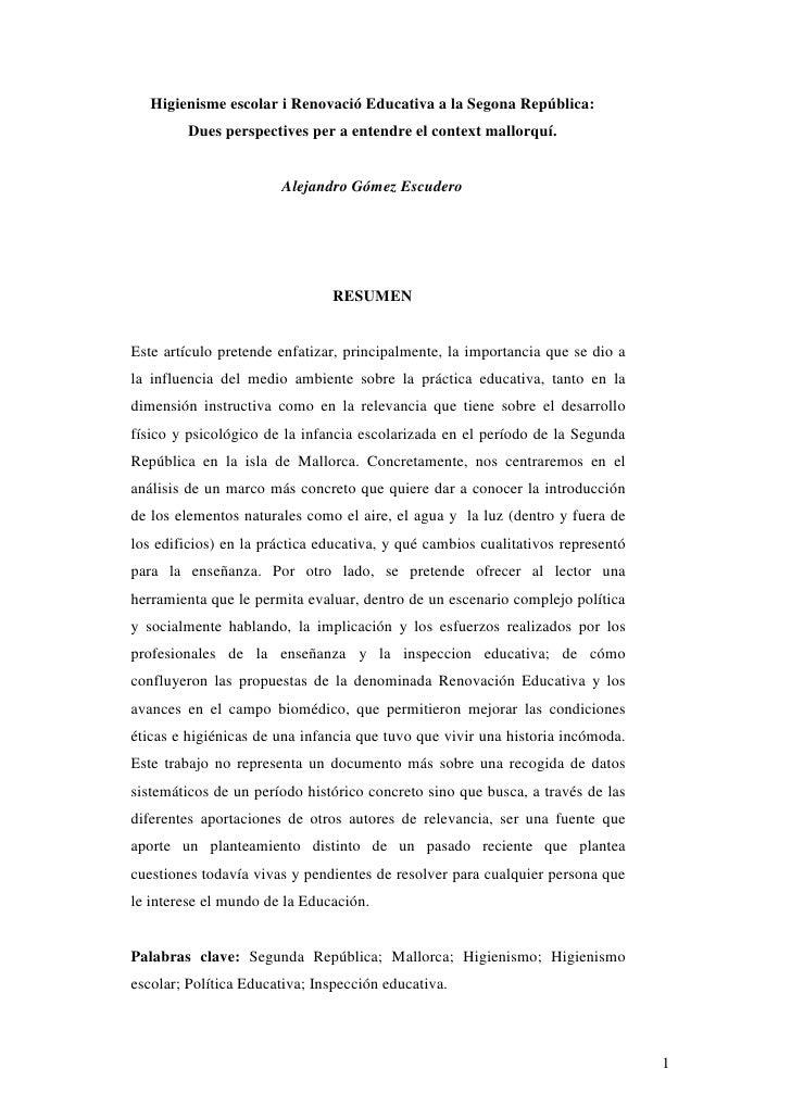 Higienisme escolar i Renovació Educativa a la Segona República:         Dues perspectives per a entendre el context mallor...