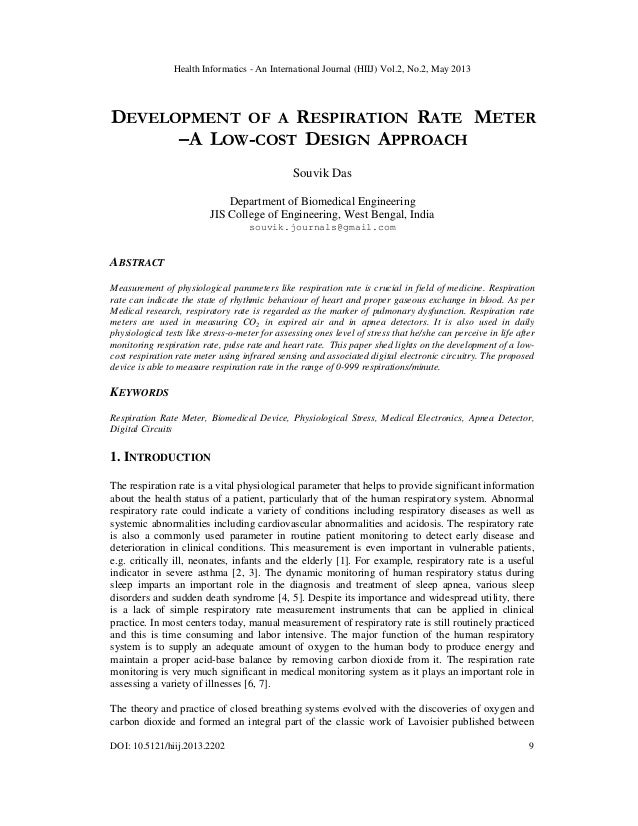 Development  of  a  Respiration Rate Meter –A Low-Cost Design Approach