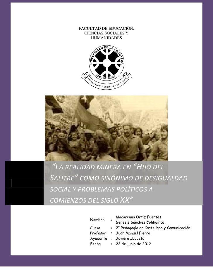 """LITERATURA CHILENA I 2012        FACULTAD DE EDUCACIÓN,          CIENCIAS SOCIALES Y             HUMANIDADES""""LA REALIDAD M..."""