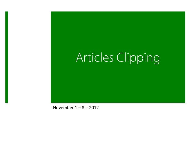 Weekly Clipping 1 - 8 Nov