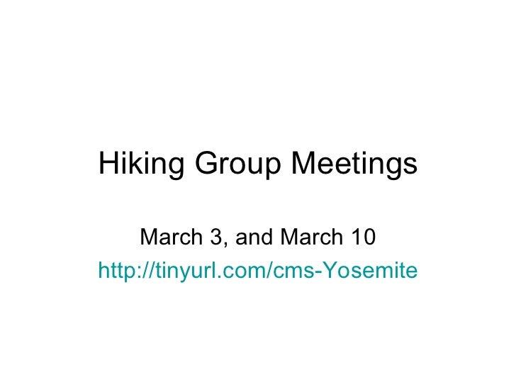 Hiking groupmeetings