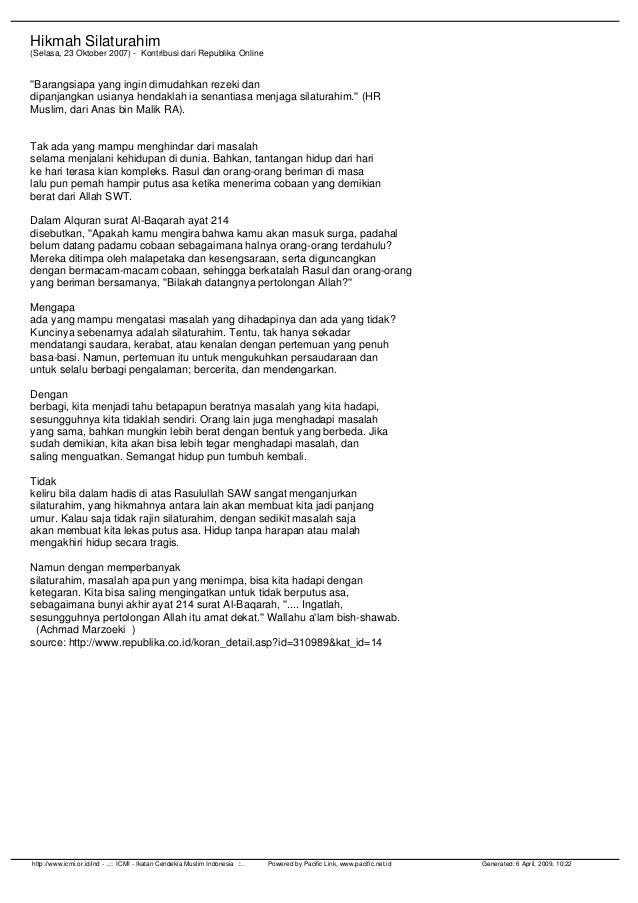 Hikmah Silaturahim (Selasa, 23 Oktober 2007) - Kontribusi dari Republika Online ''Barangsiapa yang ingin dimudahkan rezeki...