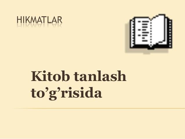 Kitob tanlash to'g'risida