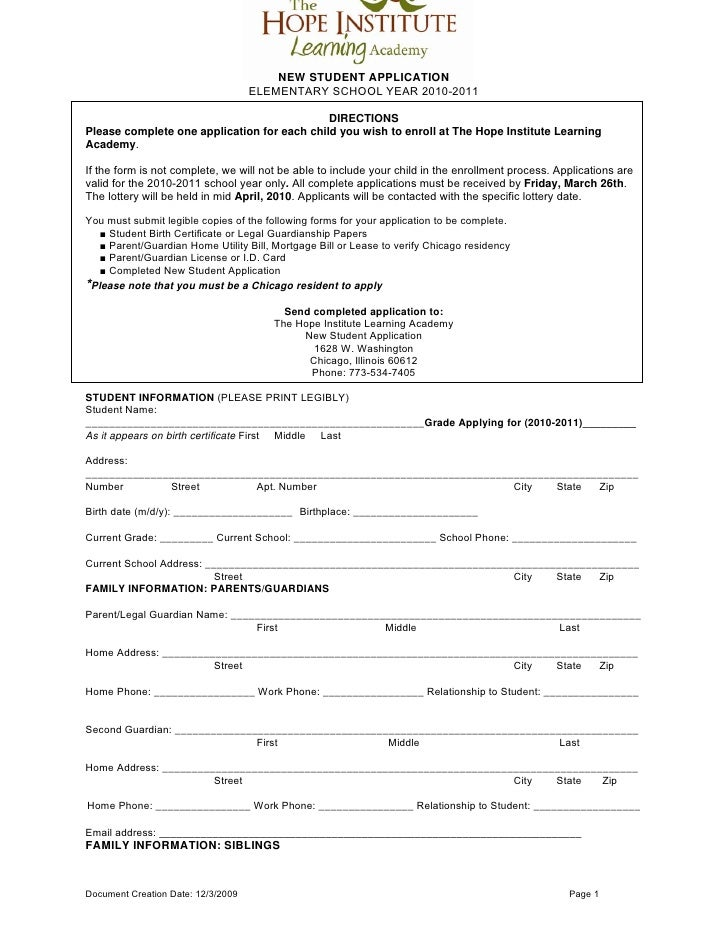 NEW STUDENT APPLICATION                                      ELEMENTARY SCHOOL YEAR 2010-2011                             ...