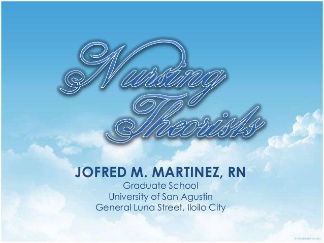 JOFRED M. MARTINEZ, RNGraduate SchoolUniversity of San AgustinGeneral Luna Street, Iloilo City