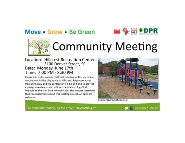 Hillcrest Play DC Playground Community Meeting