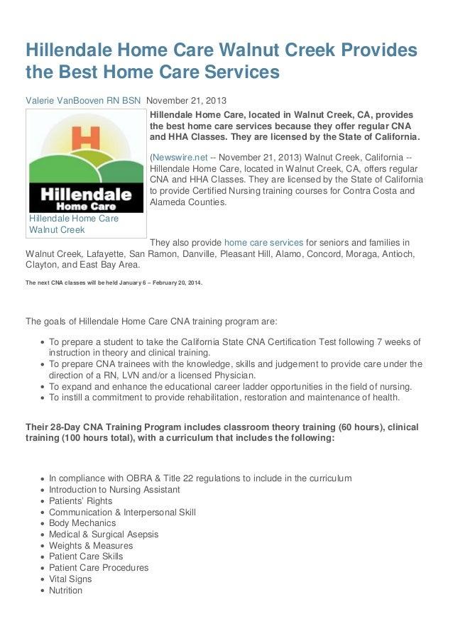 Home Care Walnut Creek CA- Hillendale Home Care Services