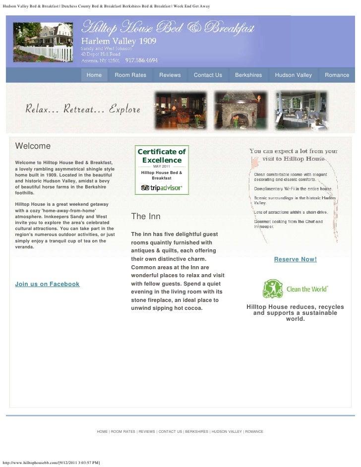 Hudson Valley Bed & Breakfast | Dutchess County Bed & Breakfast| Berkshires Bed & Breakfast | Week End Get Away           ...