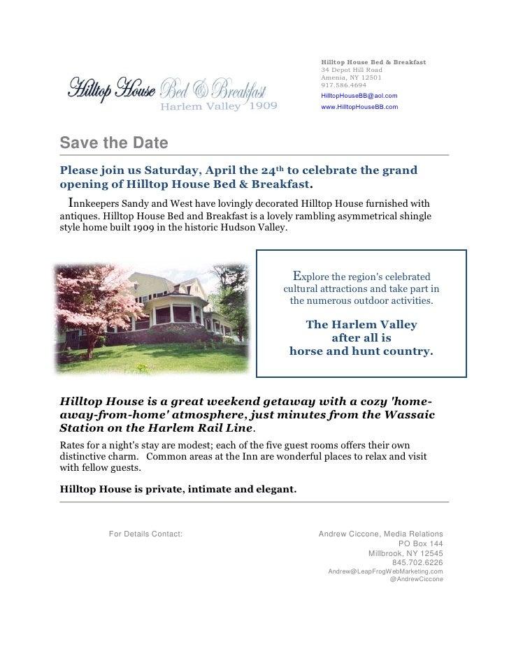 Hilltophouse Press Release