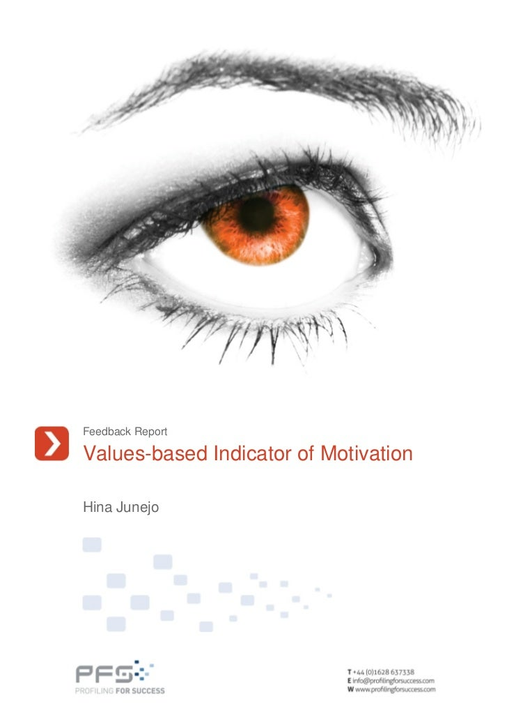 Hina Junejo Values Based Indicator Of Motivation Feedback Report