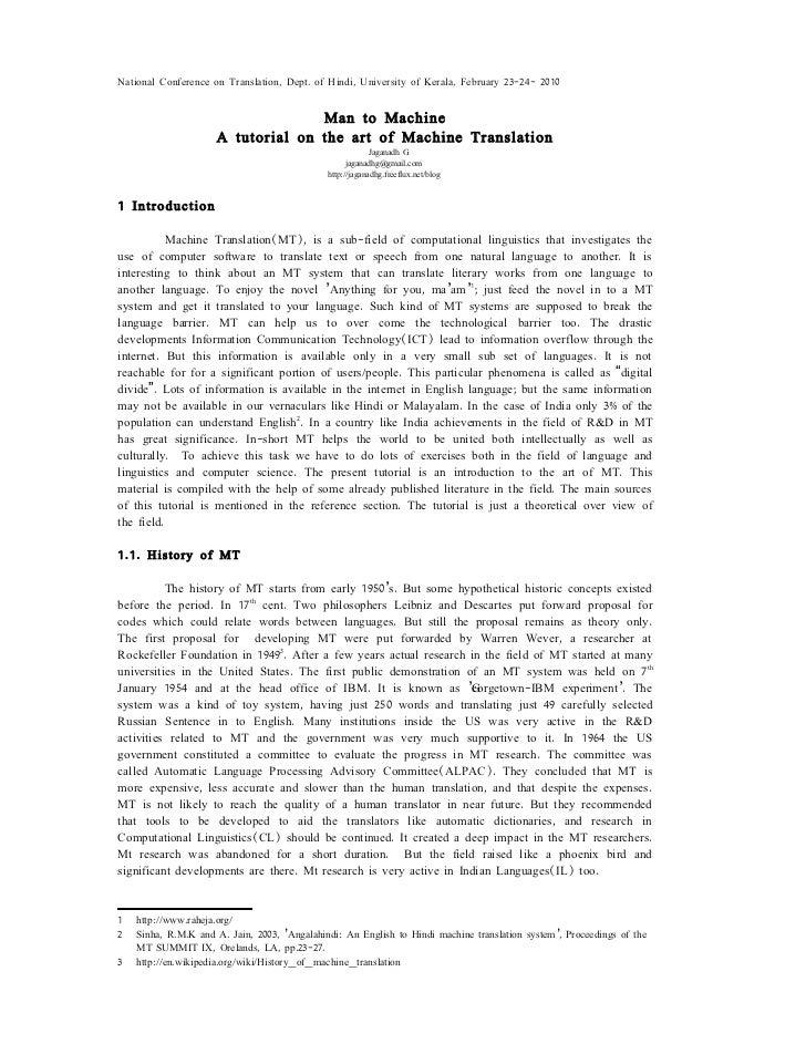 A tutorial on Machine Translation