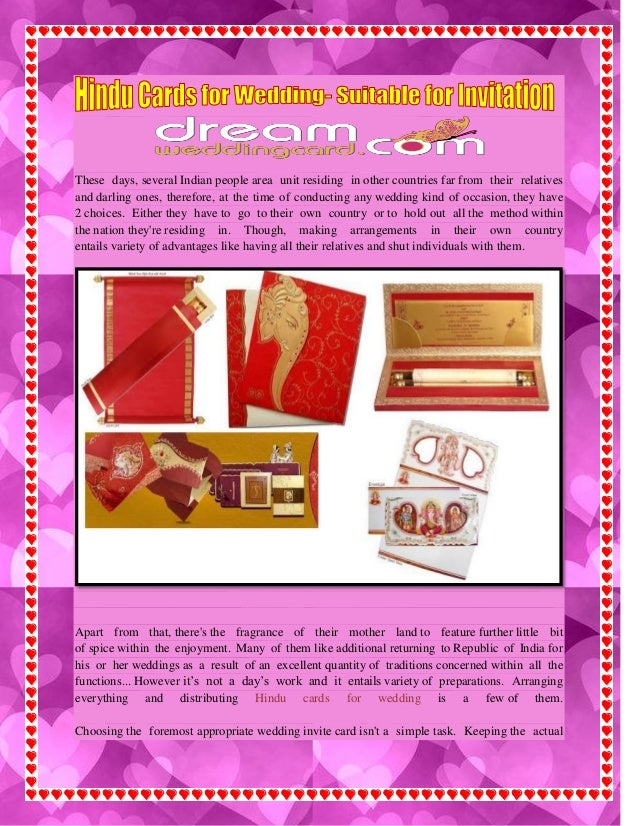 Hindu cards for wedding  suitable for invitation