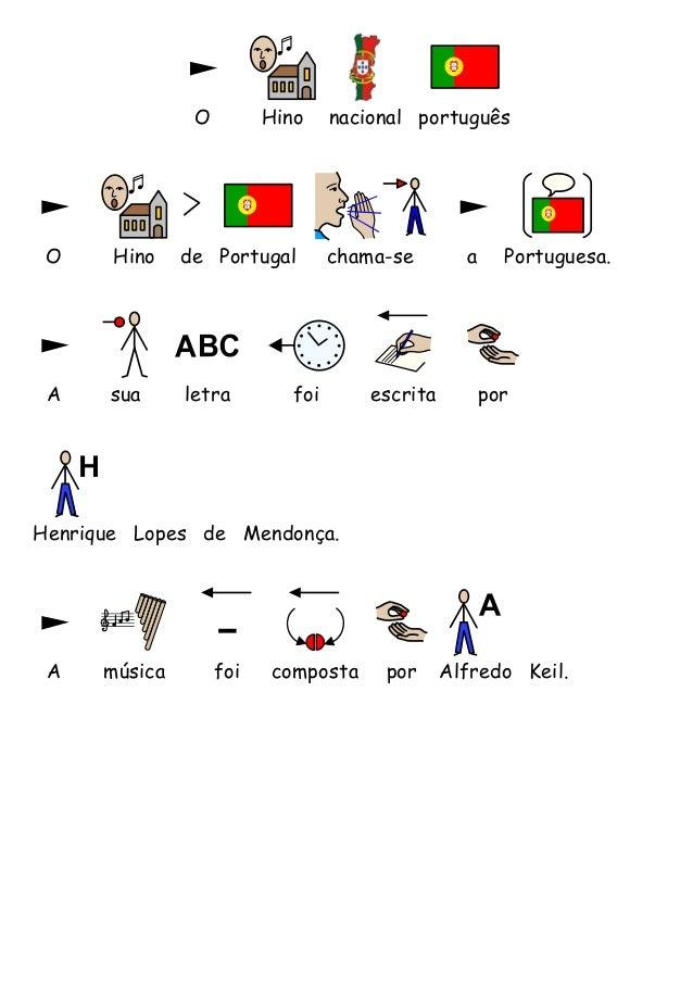 O Hino nacional portuguêsO Hino de Portugal chama-se a Portuguesa.A sua letra foi escrita porA música foi composta por Alf...