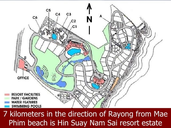 7 kilometers in the direction of Rayong from Mae Phim beach is Hin Suay Nam Sai resort estate