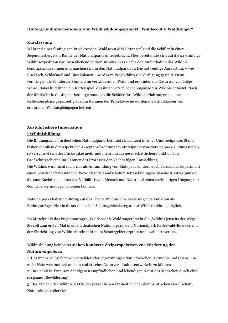 """Hintergrundinformationen zum Wildnisbildungsprojekt """"Waldscout & Waldranger""""KurzfassungWährend einer fünftägigen Projektwo..."""