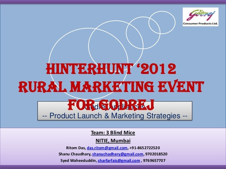 Hinterhunt '2012Rural Marketing Event      for Godrej        Godrej Appliances   -- Product Launch & Marketing Strategies ...