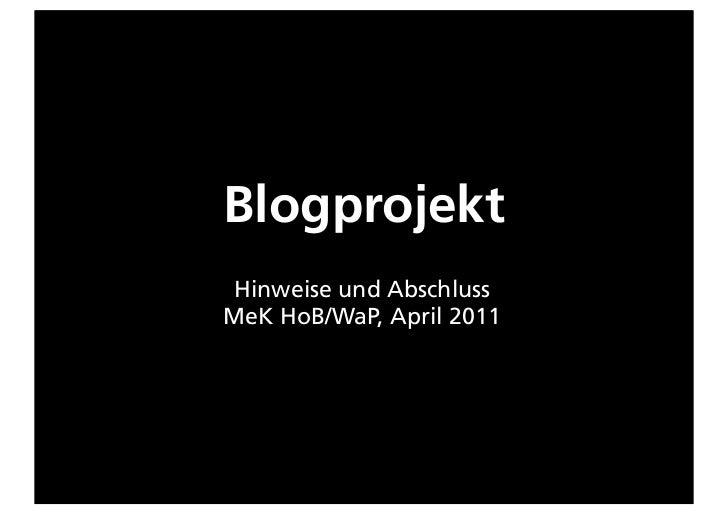 BlogprojektHinweise und AbschlussMeK HoB/WaP, April 2011