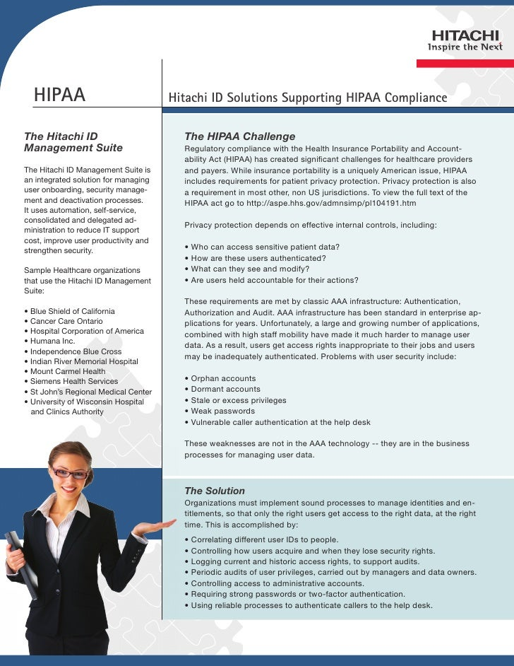 HIPAA                               Hitachi ID Solutions Supporting HIPAA ComplianceThe Hitachi ID                        ...