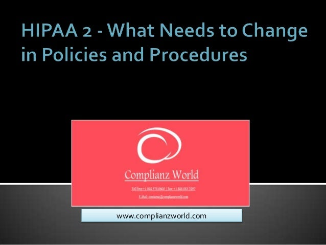 Webinar or Online Training  on Hipaa 2   what needs to change in policies and procedures