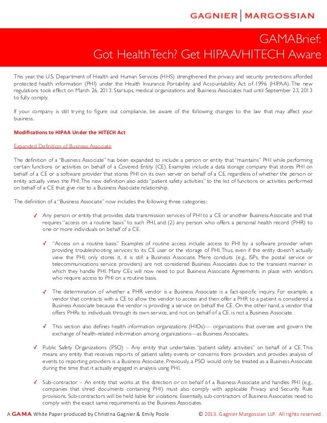 GAMABrief: Got HealthTech? Get HIPAA/HITECH Aware This year, the U.S. Department of Health and Human Services (HHS) streng...