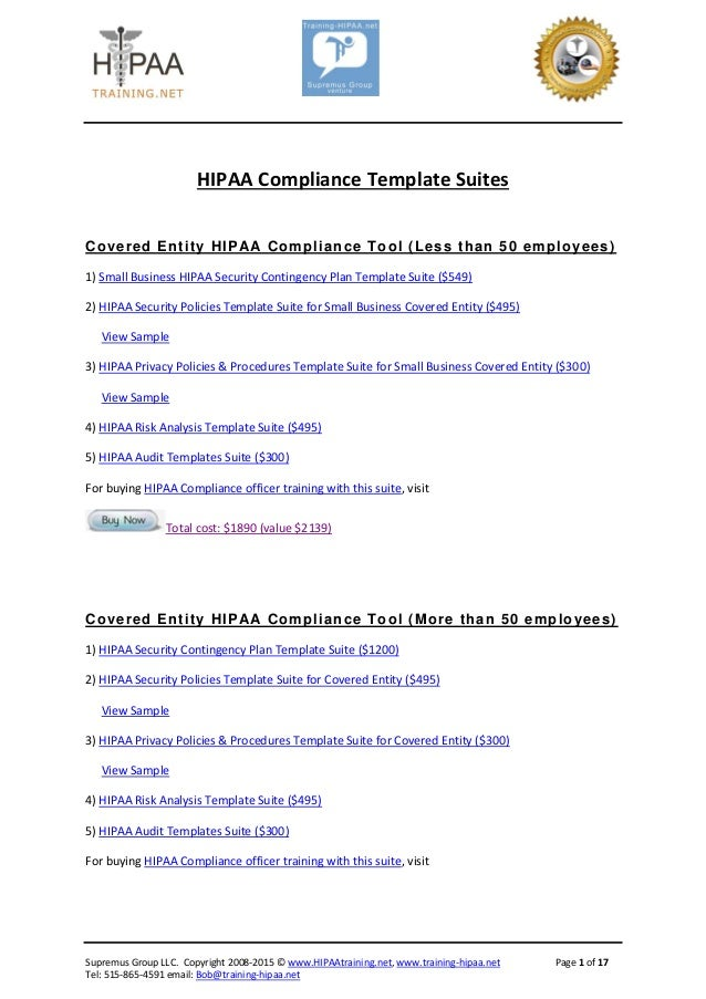 Hipaa Compliance Manual Example