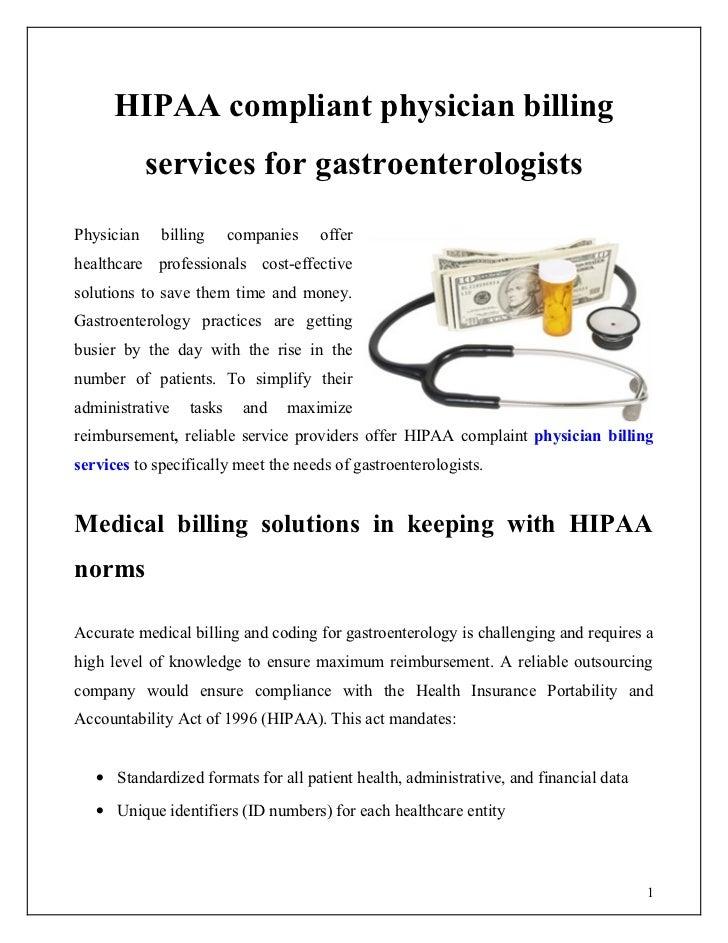 HIPAA compliant physician billing            services for gastroenterologistsPhysician    billing     companies   offerhea...