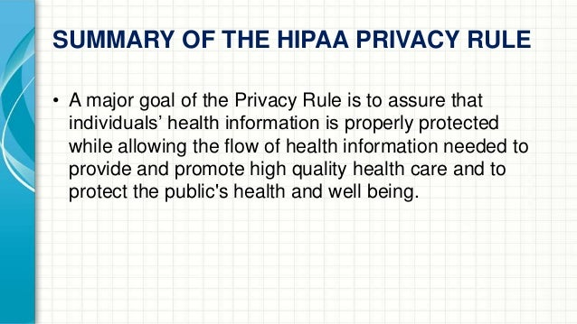 hipaa summary 1 day ago  this guide explains the rights that patients have under the hipaa privacy rule it  also answers many  summary of the hipaa privacy rule.