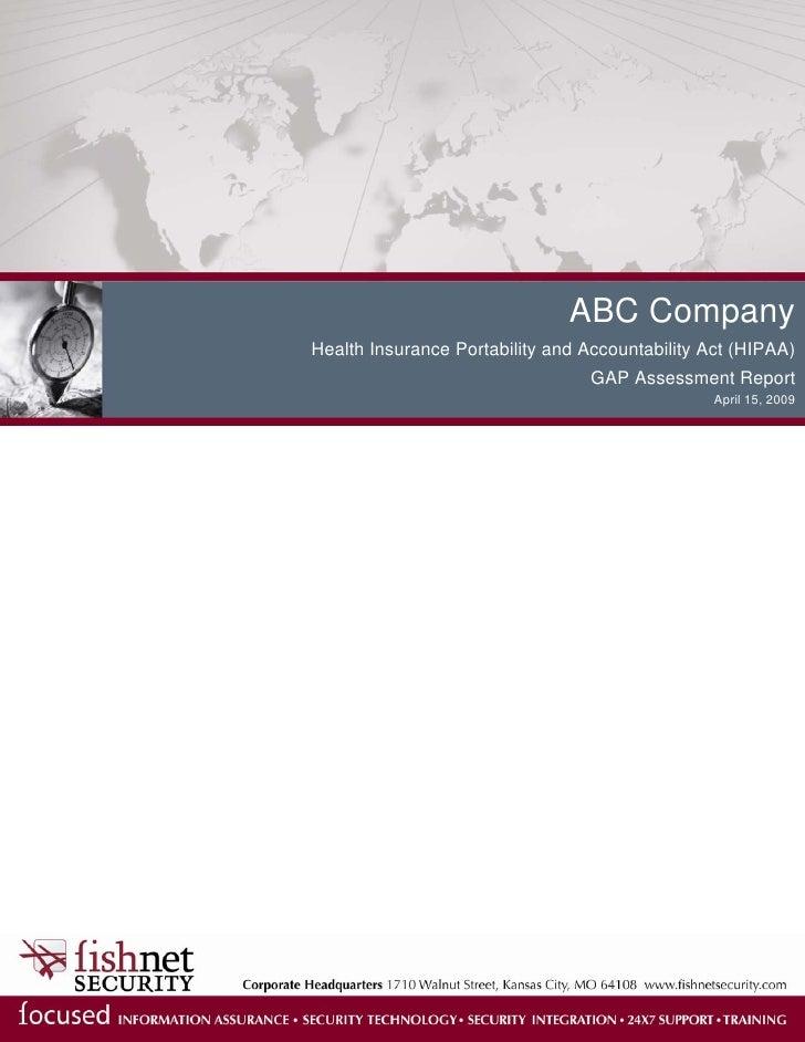 ABC Company Health Insurance Portability and Accountability Act (HIPAA)                                   GAP Assessment R...
