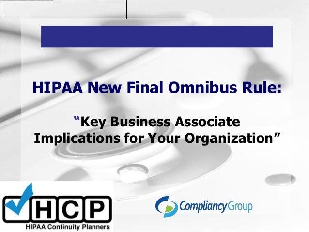 Hipaa omnibus presentation webinar