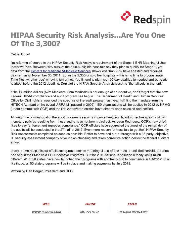 HIPAA Security Risk Analysis…Are You OneOf The 3,300?Get er Done!I'm referring of course to the HIPAA Security Risk Analys...