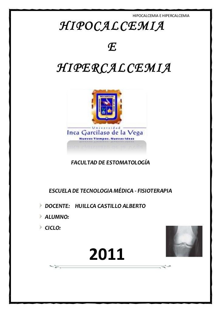 Hipercalcemia hipocalcemia