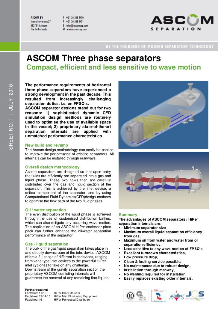 ASCOM Three phase separators                          Compact, efficient and less sensitive to wave motion                ...