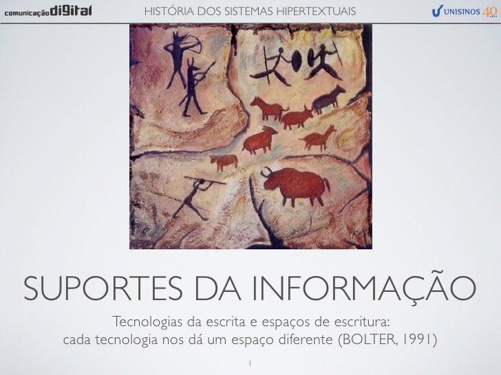 HISTÓRIA DOS SISTEMAS HIPERTEXTUAISSUPORTES DA INFORMAÇÃO         Tecnologias da escrita e espaços de escritura: cada tecn...